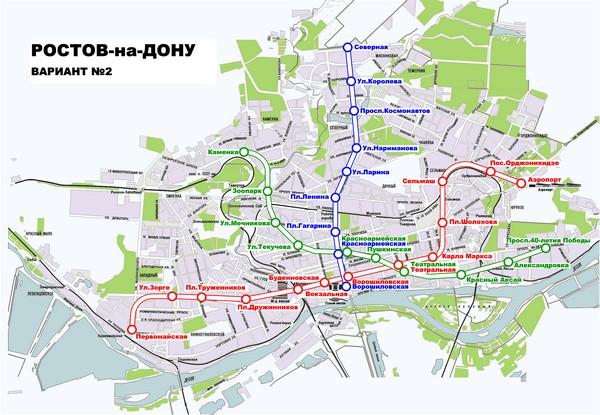 Один из вариантов будущего ростовского метрополитена