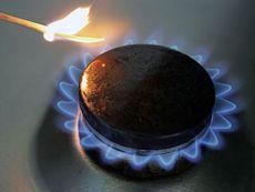 Газ зажигает голубой огонек