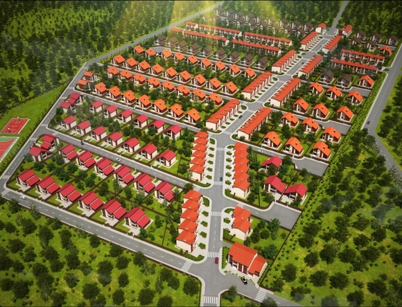Вид поселка сверху.