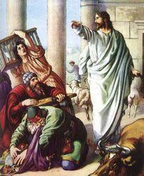 «Вертеп разбойников, вон из храма!» Иллюстрация библейского сюжета.