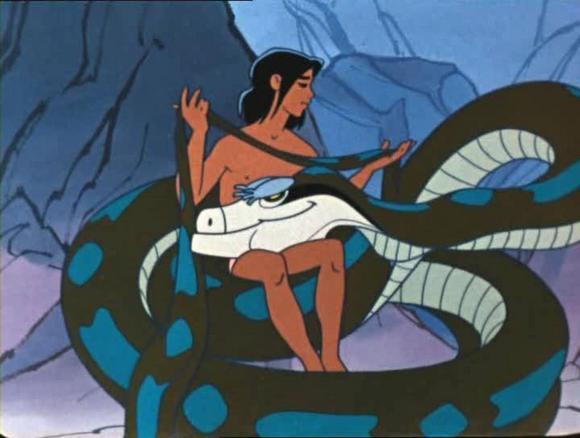 Маугли и Каа.