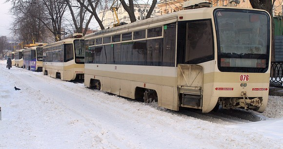 Ростовский трамвай зимой.