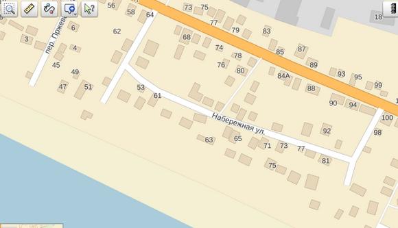 Улица Набережная на карте Яндекса.