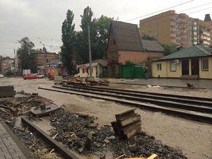 Рвзмытая улица Горького после дождя.