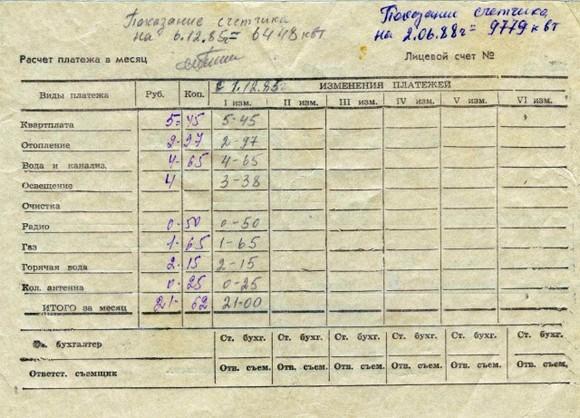Квитанция на квартплату - раритет времен СССР.