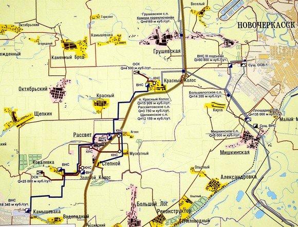 Красный колос и окрестности. На юге берут свое начало северные пригороды Ростова.