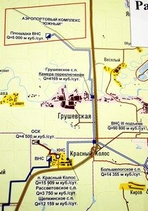 Фрагмент карты: строительство коммуникаций, проходящих к Красному Колосу, полностью зависит от реализации проекта Южного хаба.